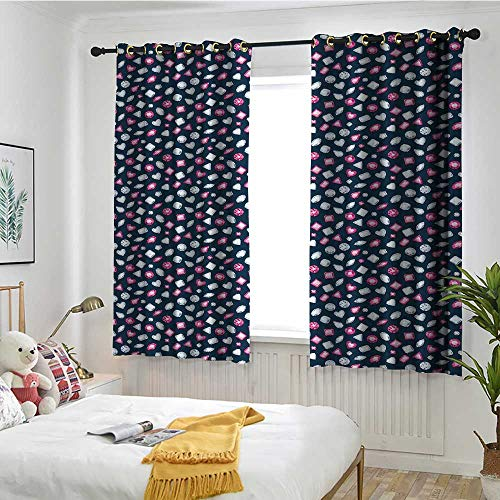 Diamonds Blackout Curtain Round Marquise Square and Heart Shaped Crystals with Ruby Arrangement Simple Stylish W 63