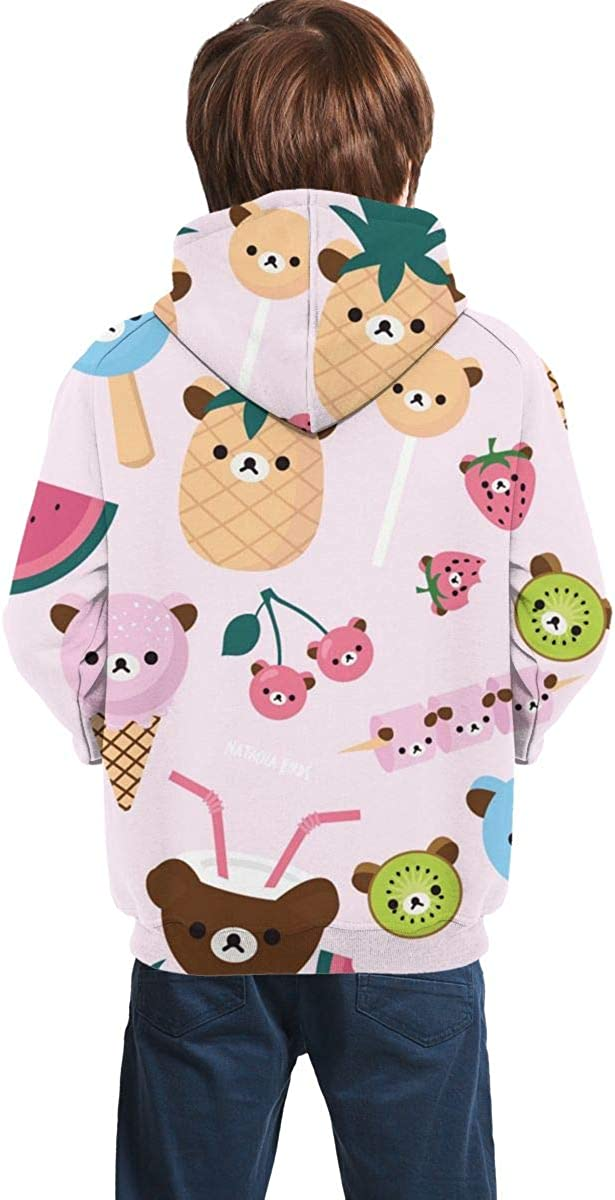 Teen Pullover Hoodies with Pocket Fruit Ice Cream Soft Fleece Hooded Sweatshirt for Youth Teens Kids Boys Girls