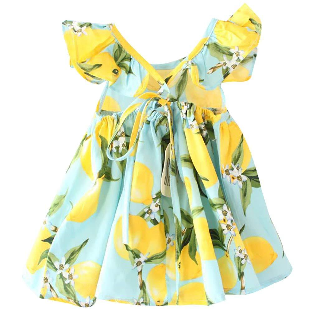 Baby Girls Dress Lemon Floral Sleeveless Backless Sundress Infant Princess Summer Ruffled Vest Dress