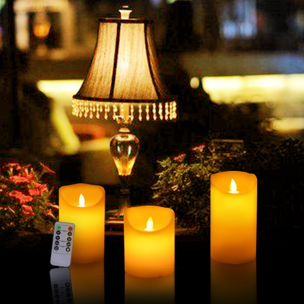 Across Everlasting Dancing Flameless Candles Real Wax Pillar Led Candles with 10-Key Remote Control Hours Timer for Outdoor Wedding Party Bar by ACROSS