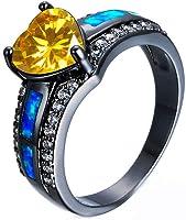 JULAN Heart Shape Engagement Diamond Ring Cubic Zirconia Promise Colorful Rings for Women Men