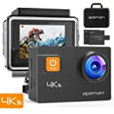 "APEMAN 4K Action Camera WIFI 20MP Waterproof Sports Camera Diving 30M Ultra 170 Adjustable Wide Angle Lens 2"" LCD Display with Sony Sensor, 2Pcs Rechargeable Batteries, Portable Carrying Bag and Accessories Kits"
