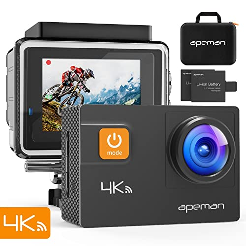 APEMAN Sports Camera 4K 20 MP WiFi Ultra HD Underwater Action Camera Waterproof 40M Camcorder with 170 ° Wide Angle EIS Sony Sensor, 2 Batteries 1050 mAh, Case and 24 Multiple Accessories