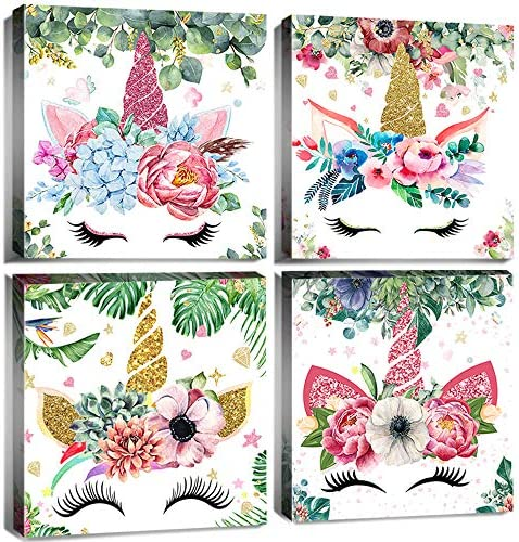 Unicorn Wall Art Decor Cute Cartoon Colorful Angel Flower Garland Canvas Painting Framed 32 x 32 Inch Set of 4 Panels Watercolor Prints Poster