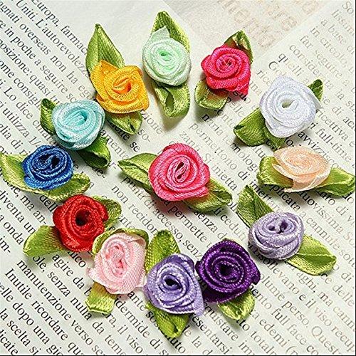 MTSZZF 100 unids Mini Cinta de Raso Decoraci?n de la Boda Hoja de la Flor de Rose Apliques Costura DIY Principal Color de la Mezcla