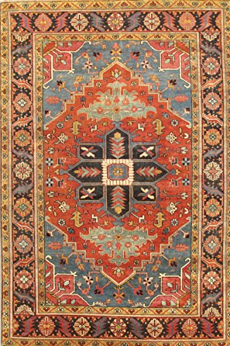 - Pasargad Serapi Collection Heriz Hand-Knotted Wool Traditional Area Rug- 4x6