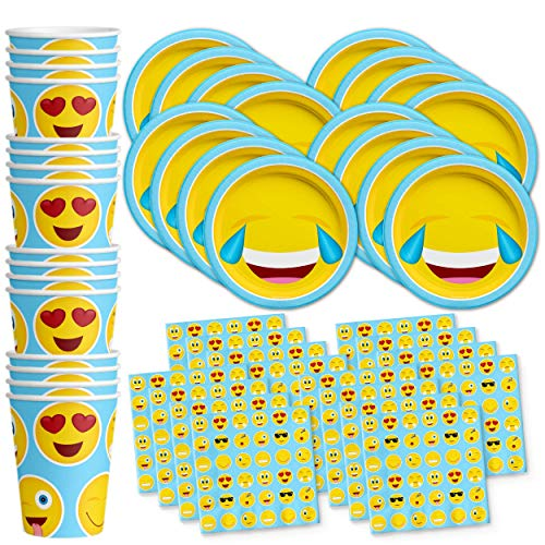 Emoji Birthday Party Supplies Set Plates Napkins Cups Tableware Kit for 16 by Birthday Galore]()