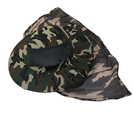 32e08b1414c Eforstore Mesh Military Camouflage Bucket Hat with Anti-Mosquito Bees Fly  Mask Neck Flap Hat Sun Protection Shield Boonie Hats for Fishing Hiking  Hunting ...
