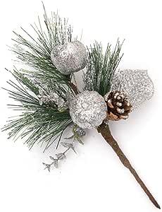 Riverbyland 8 Christmas Picks Pine Pick Glitter Indigo Christmas Spray Set of 3