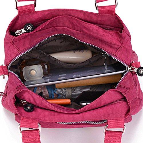HT Nylon Shoulder Bag - Bolso al hombro para mujer rojo oscuro