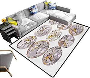 """Clock Area Rug Repair of Watches Theme Design Technical Theme Clockwork Retro Theme Horizontal Printing Rug Pads Silver and Gold (4'7""""x6'6"""")"""