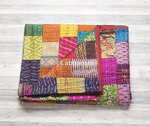 Patola Silk Patch Work Kantha Quilt, Indian Sari Quilt, Printed Bedspread, Boho King Size Bedding, Bohemian Throw Blanket, Indian Ethnic Cotton Reversible Bedcover, Amazing Antique Design Tapestry by Labhanshi