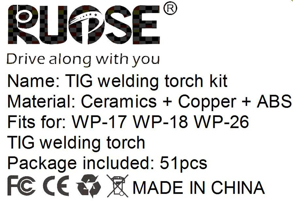 wp-17//18//26) Rupse TIG Kit Gas Lens for WP-17 WP-18 WP-26 WL20 Torch Accessories Spares Parts Lanthanated Tungsten 23pcs