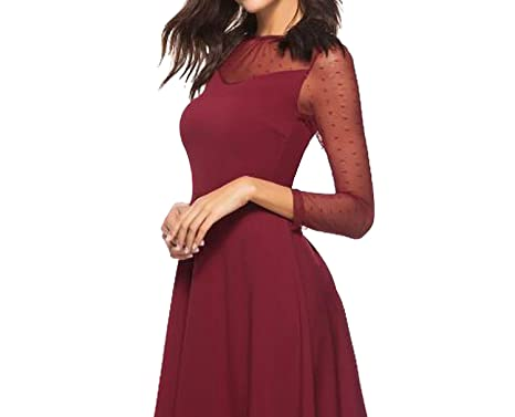 Sexy Sheer Lace Sleeve Dots Vestidos Femmie A-line Midi Wedding 2018 Burgundy Robe,