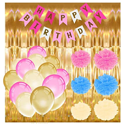 Amazon TLBTEK Pink And Gold Birthday Party Decorations With