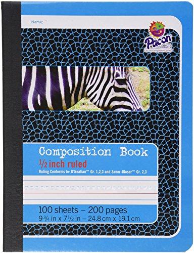 "Pacon Composition Book, 9/3/4""X7 1/2"", D'Nealian (Grades 1, 2 & 3), Zaber-Bloser (Grades 2&3), 100 Sheets"