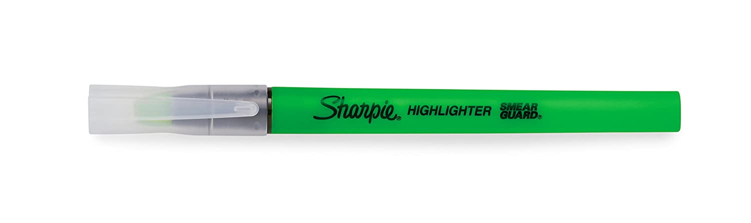 Orange Green Pink Sharpie Clear View Highlighters 4//Pkg-Yellow