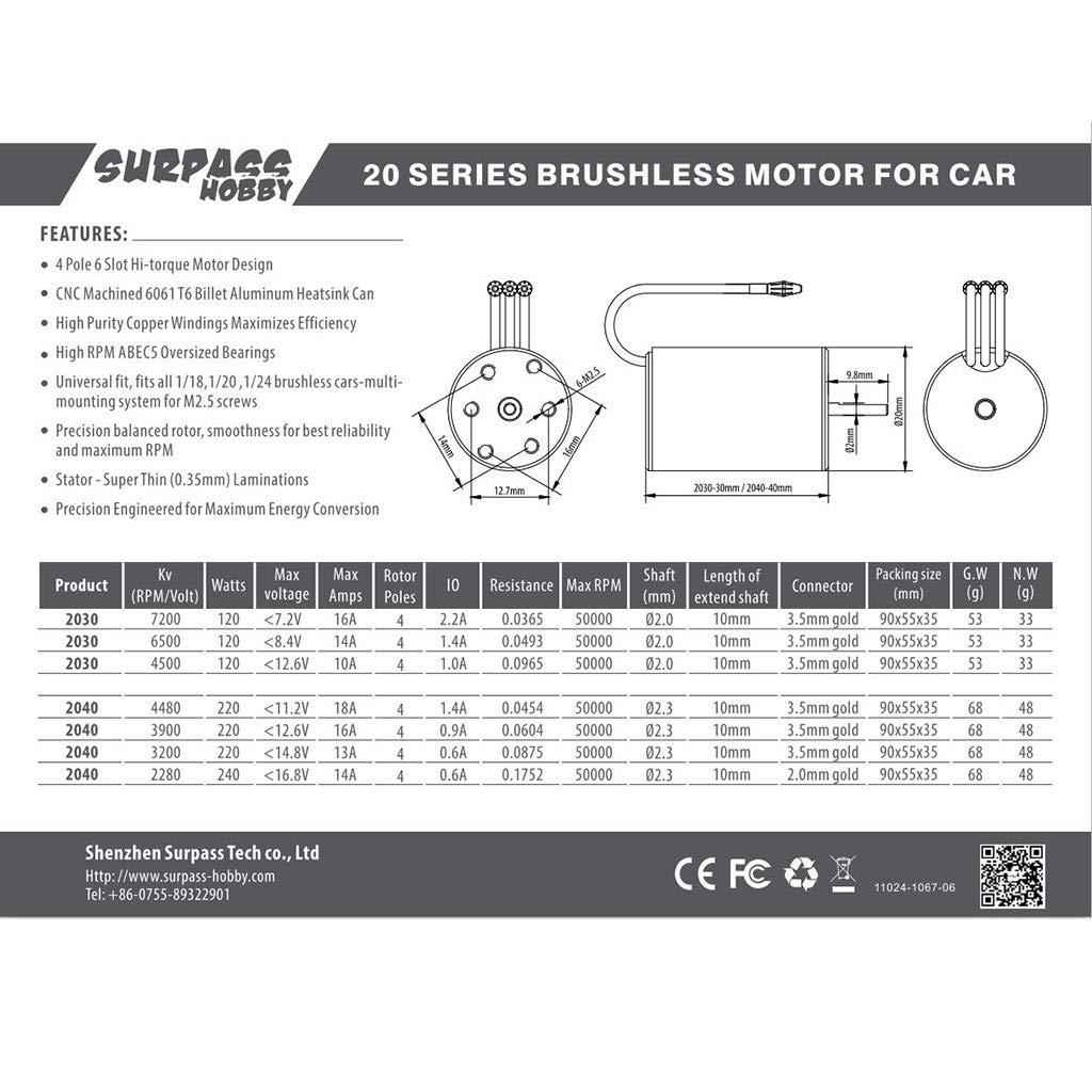 Ktyssp Surpass Hobby Waterproof Brushless 2030 6500KV Motor for 1//18 1//20 RC Car Truck
