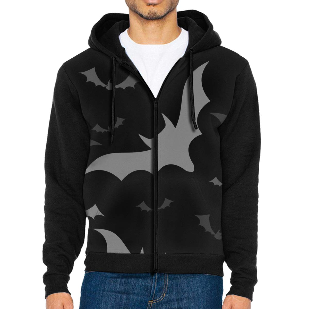 MHBGMYES Flying Grey Bats Lightweight Mans Jacket with Hood Long Sleeved Zippered Outwear