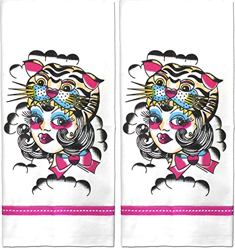 Sourpuss Brand - On the Prowl Tiger Tea Kitchen Towels - Set of 2