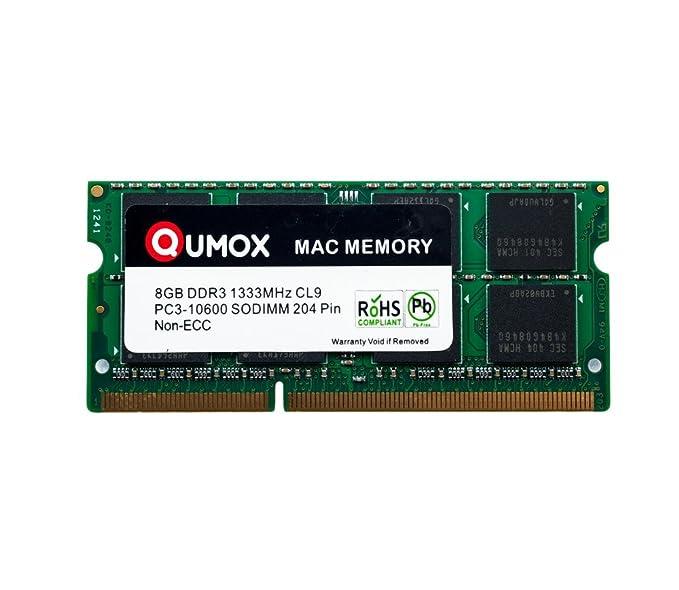 14 opinioni per QUMOX PC3-10600 8GB 204-Pin 1333MHz DDR3 SODIMM Laptop Mac Memoria per Apple