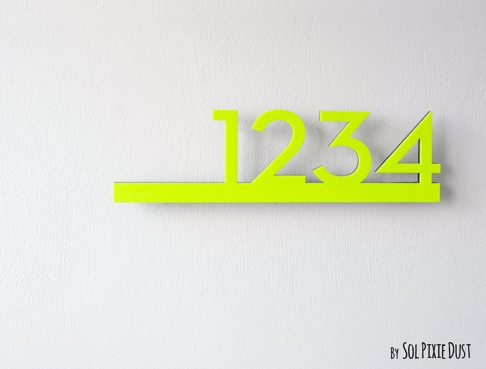 Modern House Numbers -Neon Yellow with Black Acrylic - Contemporary Home Address - Sign Plaque - Door Number