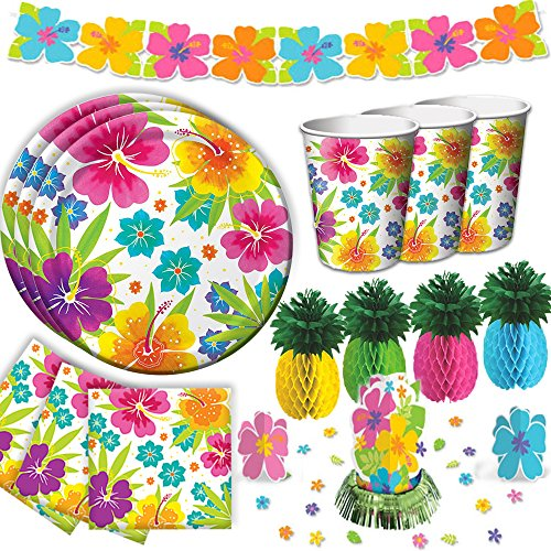 Tropical Luau Hawaiian Summer Party Supply Pack for 50 with Decorations Includes Plates, Napkins, Cups, Hibiscus Table Centerpiece, Hibiscus Garland, and Pineapple Centerpieces! -