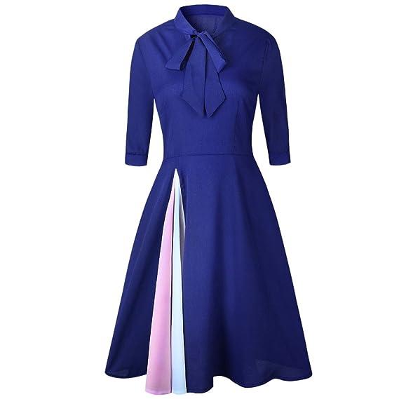 Vestiti Lungo Donna Elegante LandFox Sexy Vestito da sera da donna con  maniche corte e maniche 546f8996412