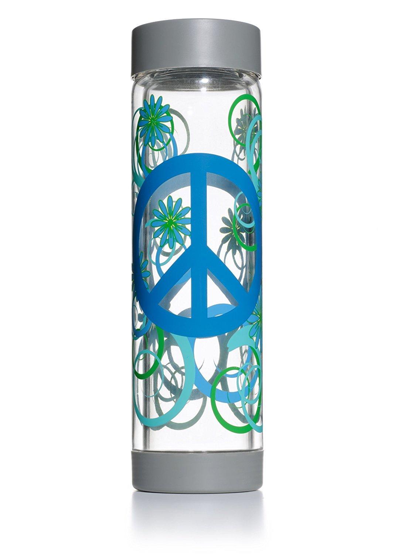 Amazon Glass Water Bottle 16oz Grey Cap Base Peace