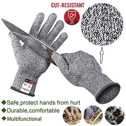 Oyster Knife Shucker Cut Resistant Glove Set Level 5 Protection Stainless Steel Clam Shellfish Seafood Opener EN388 Certified Food Grade by AmHoo (1 pair gloves + 2 knives) (L) by AmHoo (Image #3)