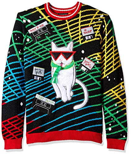 Blizzard Bay Mens Merry Mixtapes Cat Ugly Christmas Sweater Small