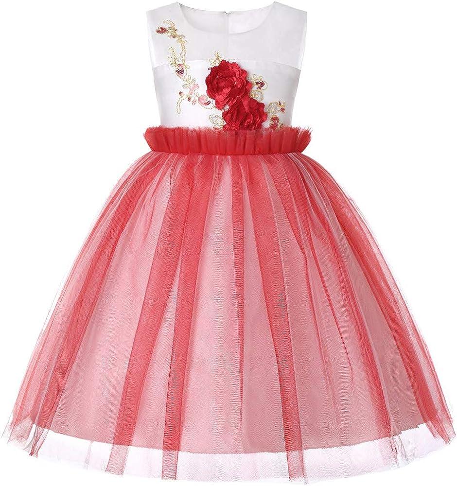 UOMOGO® Princesa niña Flor Lentejuelas Fiesta Boda Vestido 3-7 ...