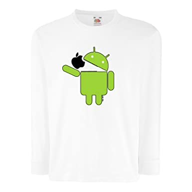 Kinder Lustige Sprüche coole fun T Shirts Android Eats Apple