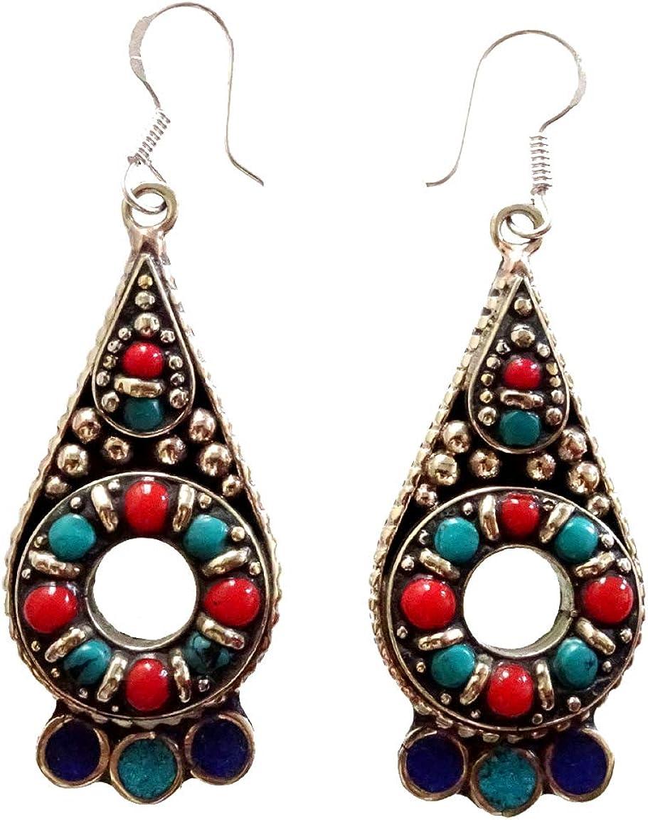 Azul lapislázuli, verde turquesa, rojo Coral gota tibetano plata plateado pendientes para las mujeres budistas pendientes gitana Tribal étnica única pendientes por artesano