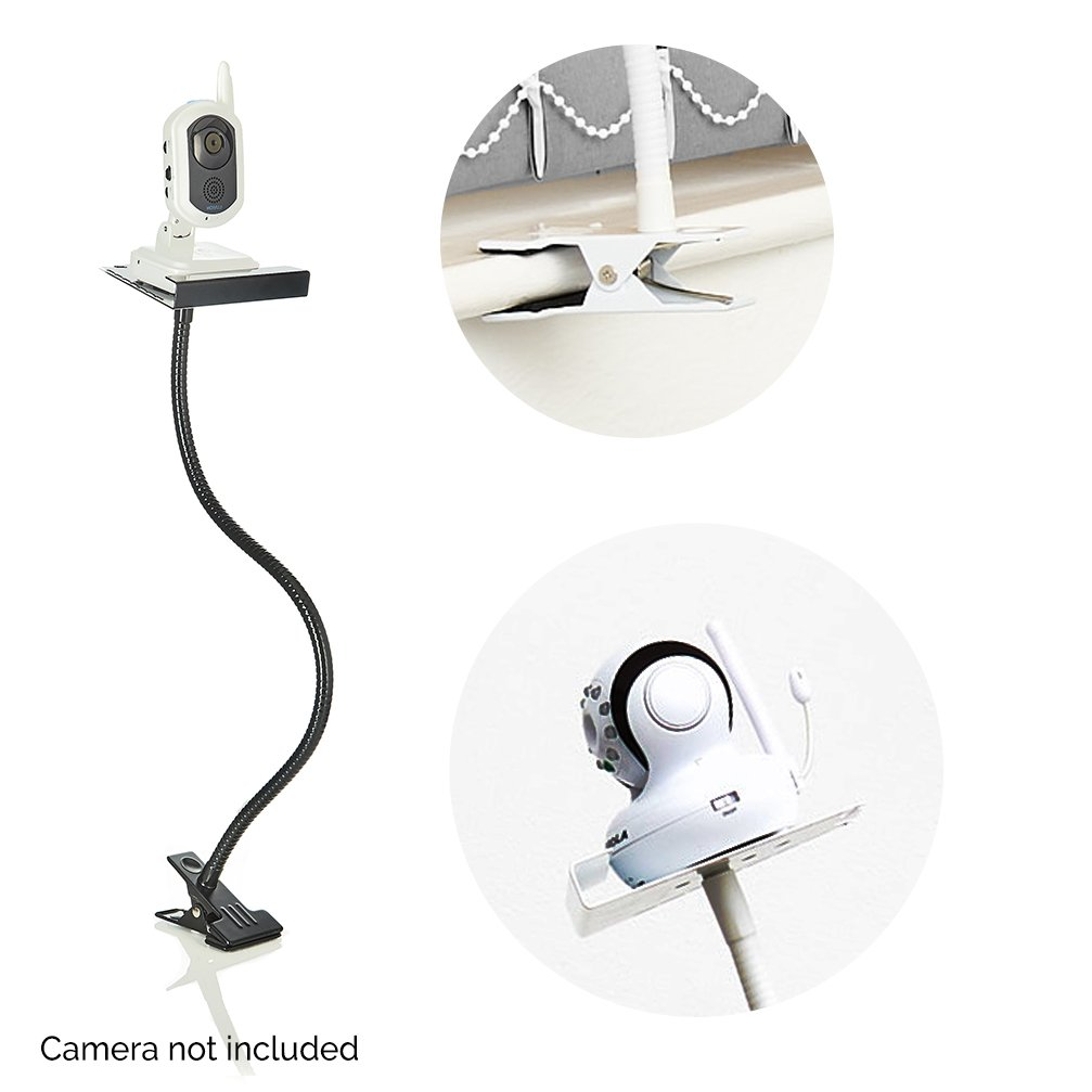 The Universal Baby Monitor Holder Baby Video Monitor Shelf with Flexible Hose Black Camera Stand for Nursery Compatible with Most Baby Monitors Black