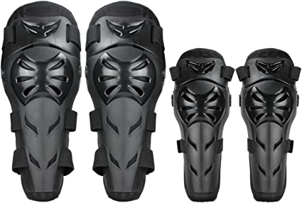 RIDBIKER 1 Pair of Movable Knee Shin Guard Pads Two Sections Adjustable Knee Cap Pads Protector Armor for Cycling Racing Motorcycle,Black