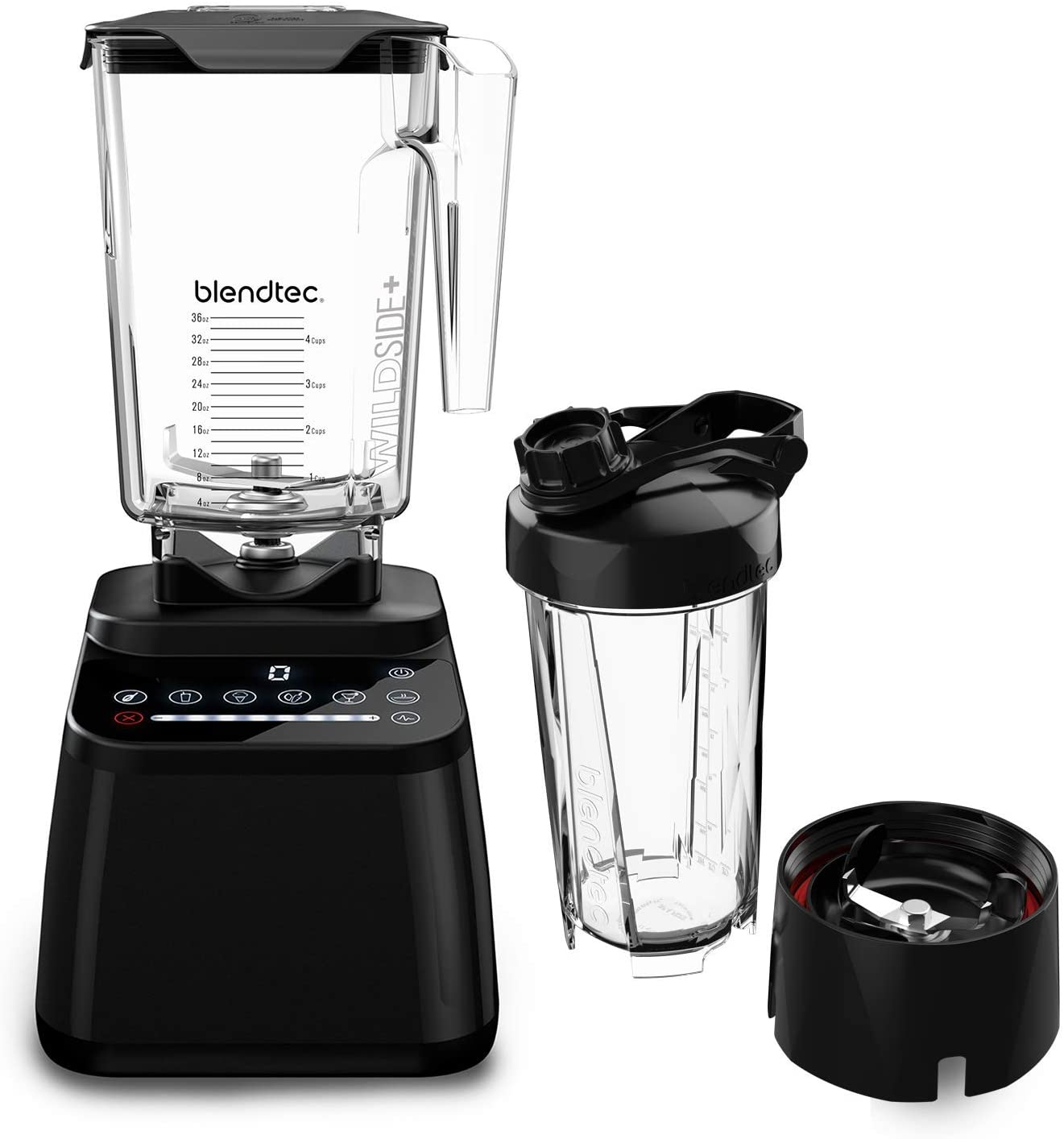Blendtec Designer Series Blender-WildSide+ Jar (90 oz) GO Travel Bottle (34 oz) BUNDLE Professional-Grade Power-Self-Cleaning-6 Pre-programmed Cycles-8-Speeds-Sleek and Slim-Black