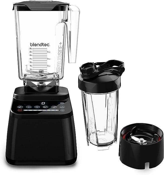 Blendtec Designer Series Blender-WildSide+ Jar (90 oz) GO Travel Bottle (34 oz) BUNDLE Professional-Grade Power-Self-Cleaning-6 Pre-programmed Cycles-8-Speeds-Sleek and Slim-Black