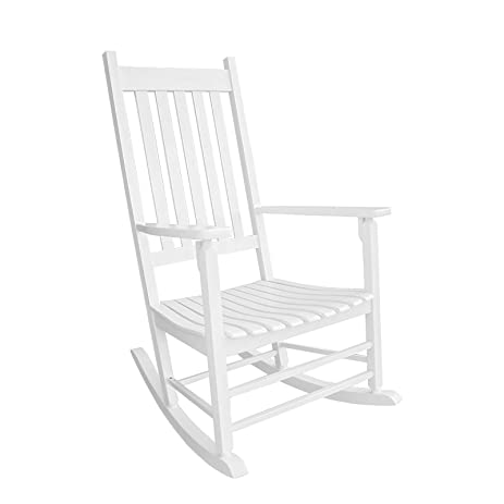 Coismo Outdoor Solid Wood Rocking Chair Porch Rocker For Adult,White