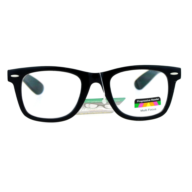 33ffd3b2ce09 Amazon.com  Multi Focus Progressive Reader Glasses 3 Powers in 1 Square  Horn Rim Black +1.00  Clothing