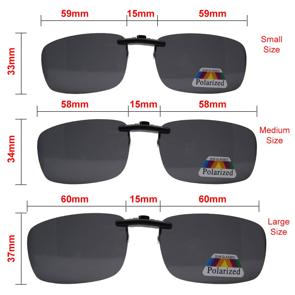 SAISZE New Driving Polarized UV 400 Lens Clip-on Sunglasses Glasses Day Night Vision Black, Large