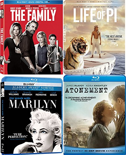 Four Film Favorites Drama Blu Ray Life of Pi Ang Lee / Atonement / Robert DeNiro The Family / My Week With Marilyn Monroe 4-Pack