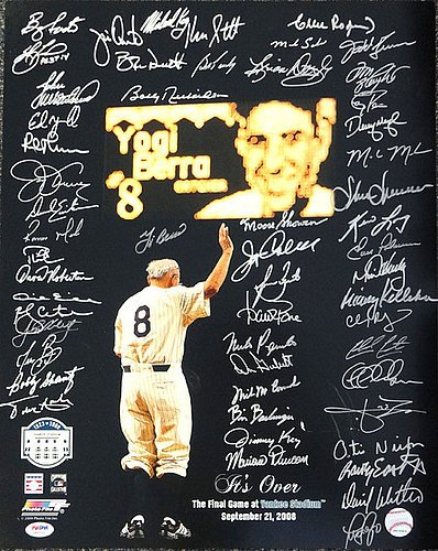New York Yankees Greats Signed 16 x 20 With 56 Signatures Including Yogi Berra Final Game - PSA/DNA Authentication - Autographed MLB Photos