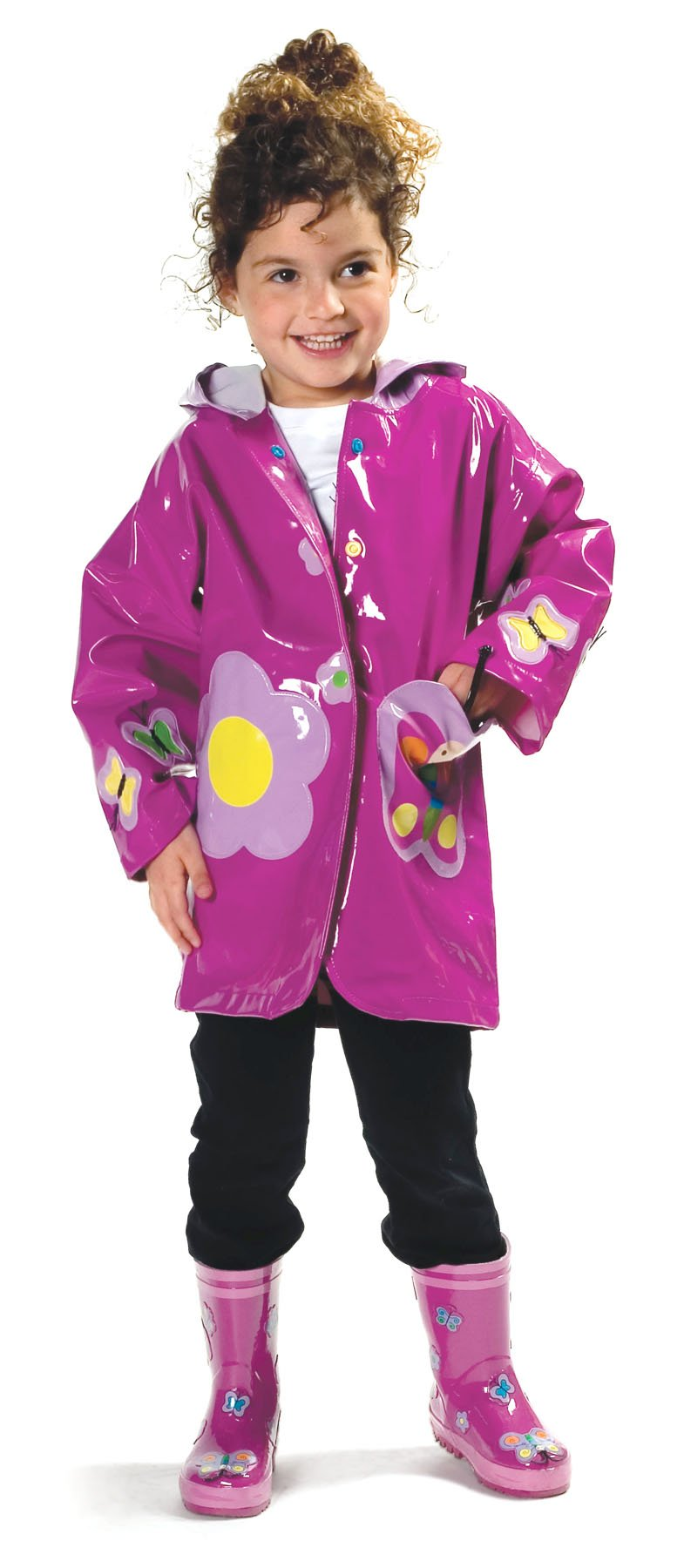Kidorable Girls' Little Butterfly All Weather Waterproof Raincoat, Purple, 6/7 by Kidorable