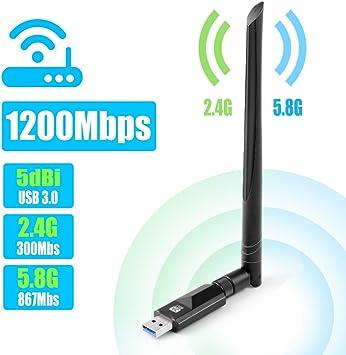 Vasco USB WiFi Adaptador 1200Mbps WiFi Antena USB 3.0 5dbi Largo Alcance Dual Band 2.4GHz/5.8GHz para Desktop/Laptop/PC Receptor WiFi Dongle ...
