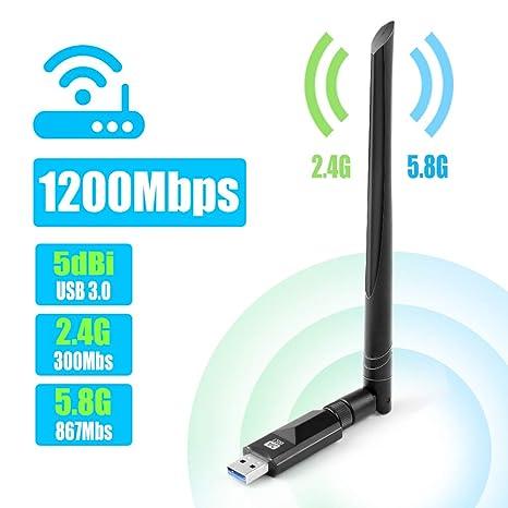 Vasco USB WiFi Adaptador 1200Mbps WiFi Antena USB 3.0 5dbi Largo Alcance Dual Band 2.4GHz
