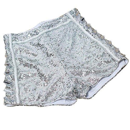 Vita Argento Alta Clubwear Corti Paillettes Donne Pantaloncini Pant Hot qRqHa