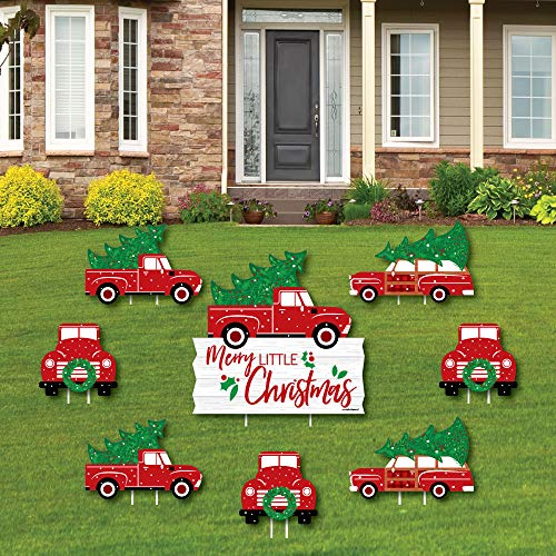 Merry Little Christmas Tree - Yard Sign and Outdoor Lawn Decorations - Red Truck and Car Christmas Party Yard Signs - Set of 8