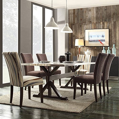 Dining Room Square Tables Stainless Steel Kitchen Furniture (Espresso finish)