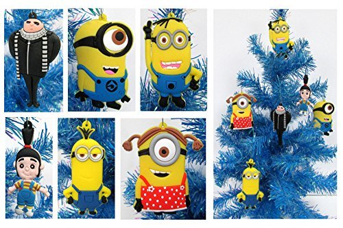 Despicable Me MINIONS Holiday Christmas Ornament Set - Unique Shatterproof Plastic -